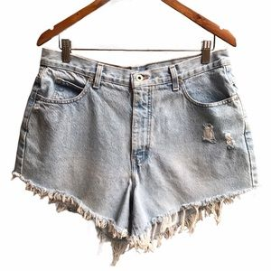 vintage cut off super high rise denim shorts